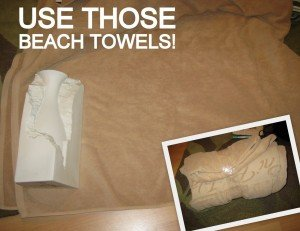 wrap fragile items with towels