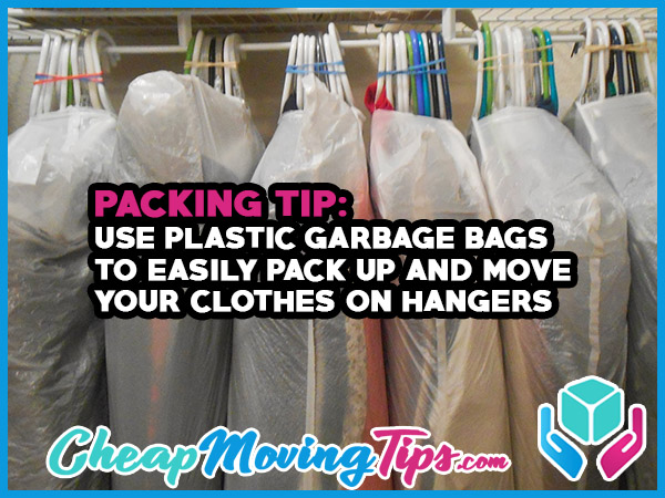 Packing Tip: Use Plastic Garbage Bags To Easily Pack Up and Move Your Clothes On Hangers