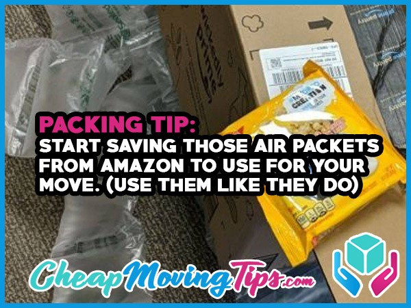 Packing Tip: Save those air packets from Amazon to use for your move. (Use them like they do)