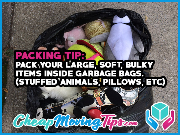 Packing Tip: Pack your large, soft, bulky items inside garbage bags. (stuffed animals, pillows, etc)